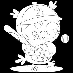 Owl playing baseball