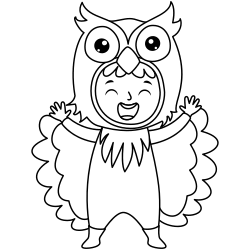 Kid with a owl costume