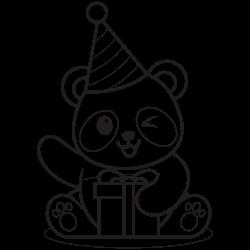 Panda openning a gift