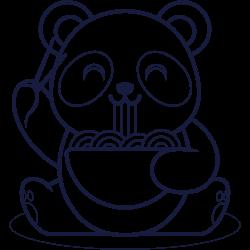 Cute panda eating sphagetti