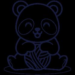 Panda playing with ball of yarn