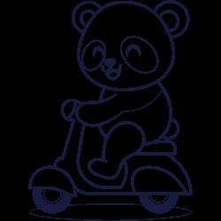 Panda with a motorbike