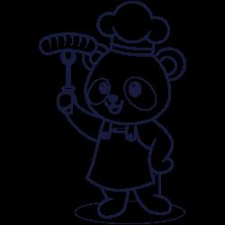 Panda cooking meal