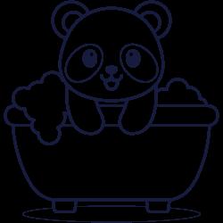 Bathroom time for little panda