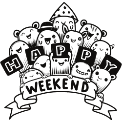 Happy weekend coloring page