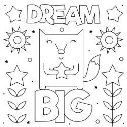 Dream big coloring page