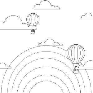 Air balloons with rainbow