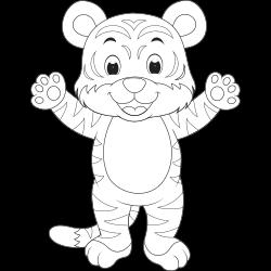 Happy tiger coloring