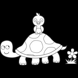 Bird sitting on turtle