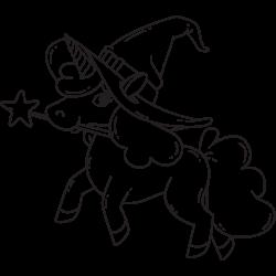 Wizard unicorn coloring