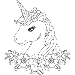 Cute unicorn with flowers