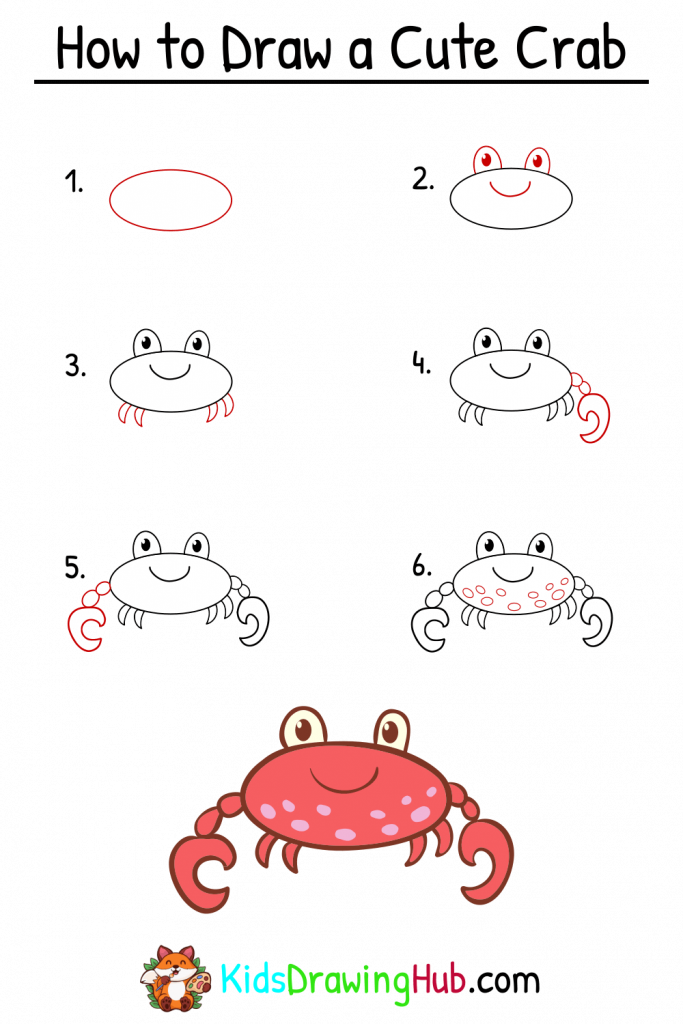 how to draw a crab steps