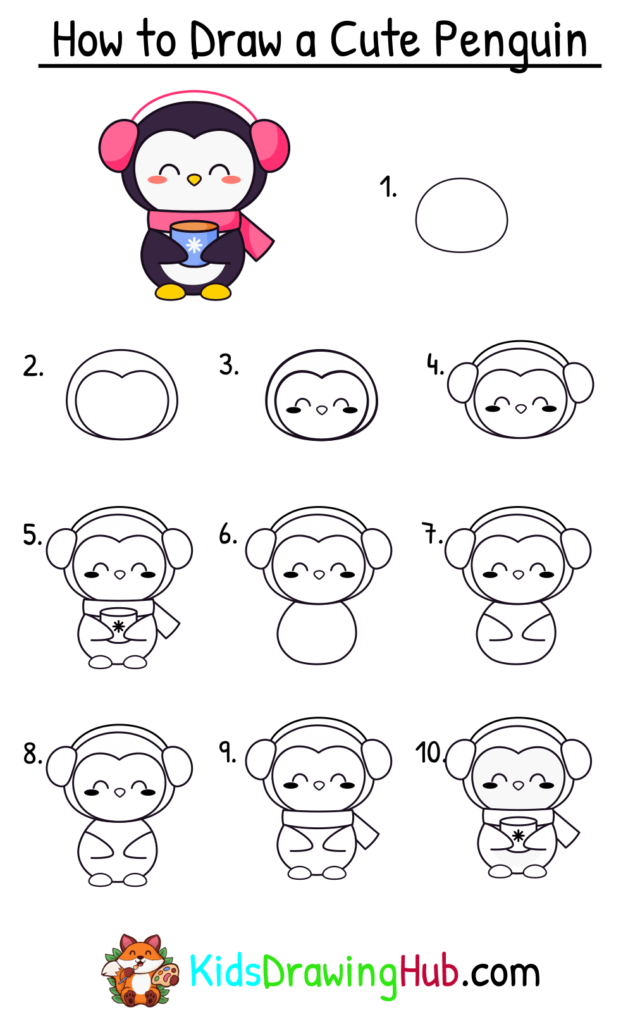 Step by step penguin drawing for kids