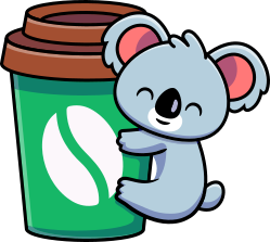 Koala likes coffee - colored version